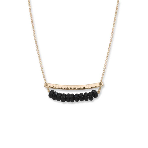 14kt Gold Side by Side Black Onyx Gemstone Necklace