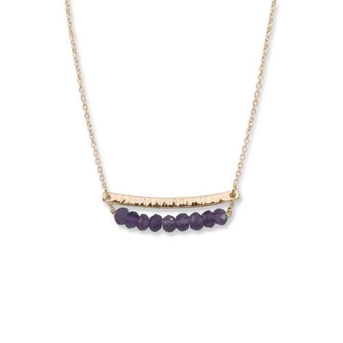 14kt Gold Side by Side Amethyst Gemstone Necklace