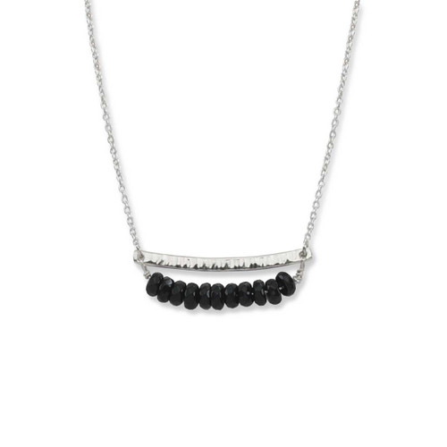Sterling Silver Side by Side Black Onyx Gemstone Necklace