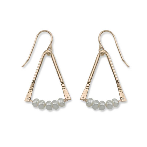 14kt Gold Trilogy Pearl Aventurine Gemstone Earrings