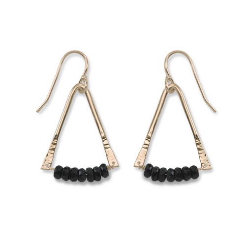14kt Gold Trilogy Black Onyx Gemstone Earrings