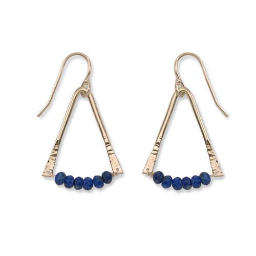 14kt Gold Trilogy Lapis Aventurine Gemstone Earrings