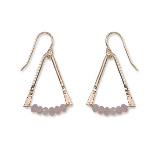 14kt Gold Trilogy Rose Quartz Gemstone Earrings