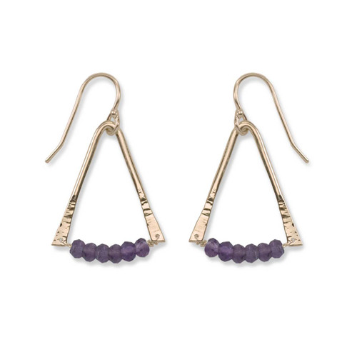 14kt Gold Trilogy quartz Amethyst Gemstone Earrings
