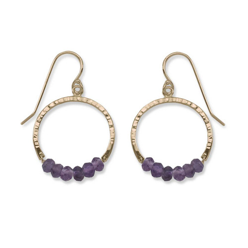 14kt Gold Full Circle Amethyst Purple Gemstone Earrings