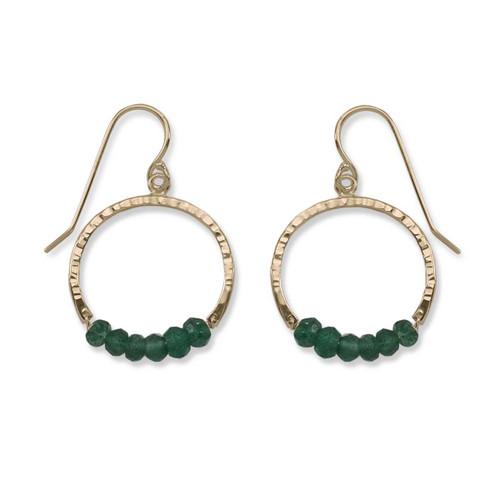 14kt Gold Full Circle Green Aventurine Gemstone Earrings
