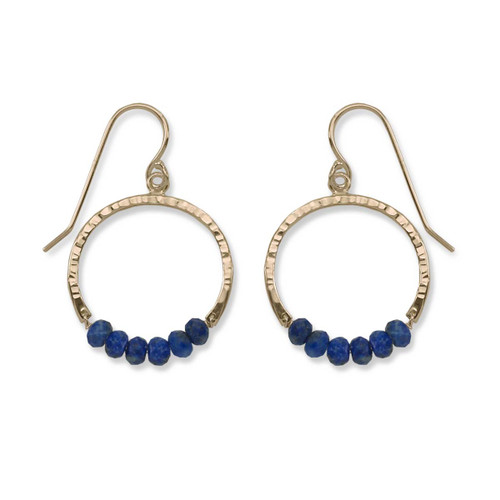 14kt Gold Full Circle Lapis Blue Gemstone Earrings