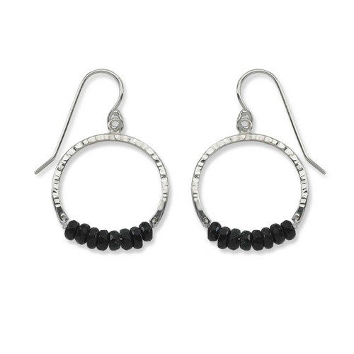 Sterling Silver Full Circle Black Onyx Gemstone Earrings
