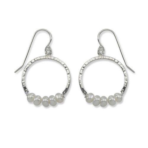 Sterling Silver Full Circle Pearl Gemstone Earrings