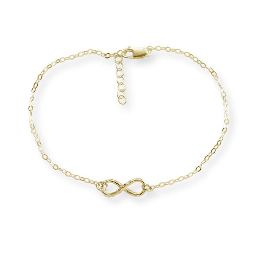 14kt Gold Mini Infinity Hammered Bracelet 7 1/2""
