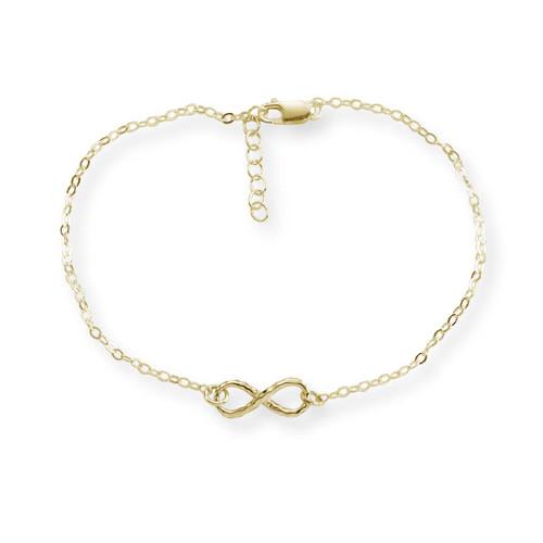 "14kt Gold Mini Infinity Hammered Bracelet 7 1/2"""