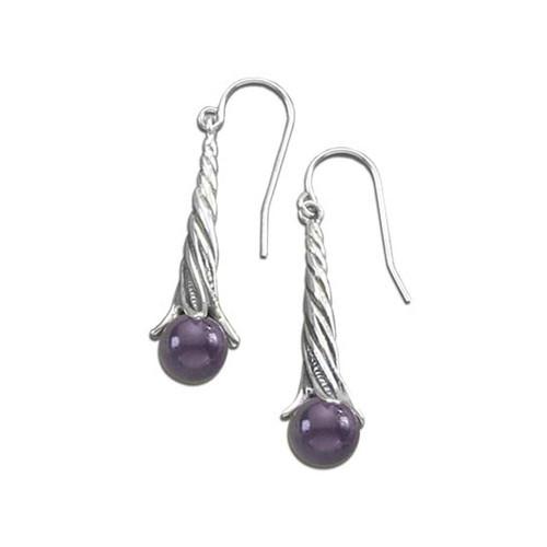 Sterling Silver Amethyst Berry Twist beads Earrings