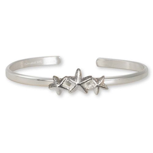 Sterling Silver Starfish Trio Adorn Cuff Bracelet