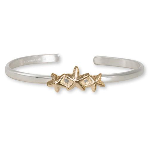 Sterling Silver & 14kt Gold Starfish Trio Cuff Bracelet
