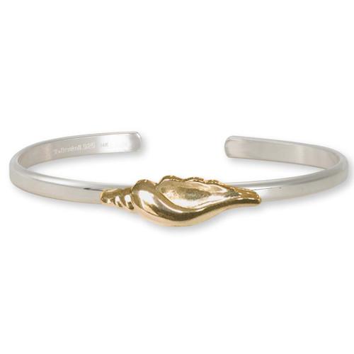 Sterling Silver & 14kt Gold Seashell Cuff Bracelet