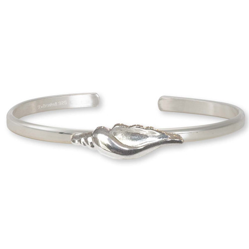 Sterling Silver Beautiful Seashell Cuff Bracelet