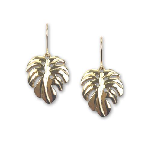 14kt Gold Perfect Long Palm Leaf Earrings