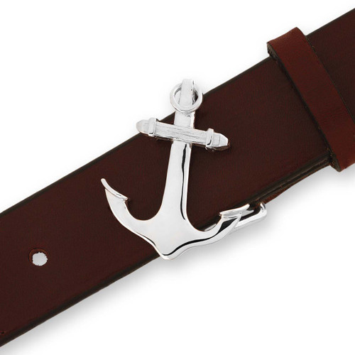 Sterling Silver Anchor Buckle with Leather Belt