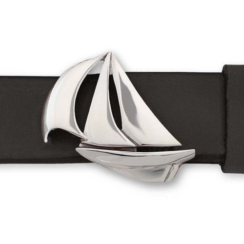 Sterling Silver Down Wind Buckle with Leather Belt