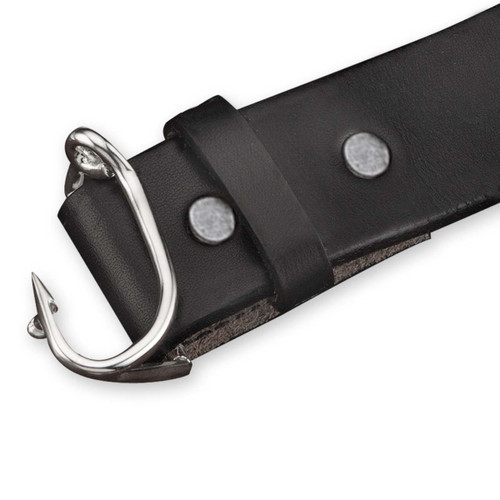 Sterling Silver Fishhook Buckle with Leather Belt