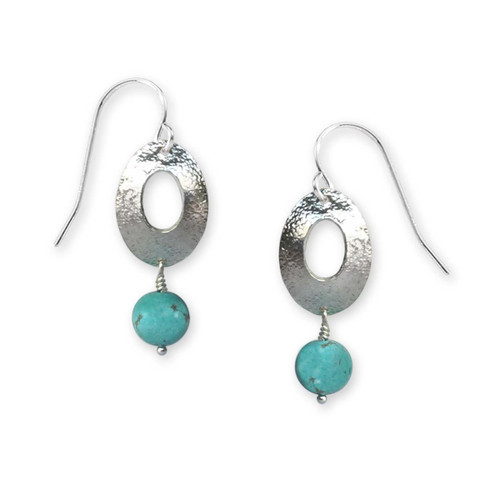 Sterling Silver Oval Turquoise Drop Earrings