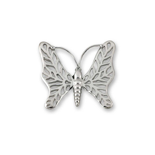 Sterling Silver Butterfly Pin With Lacy Wings