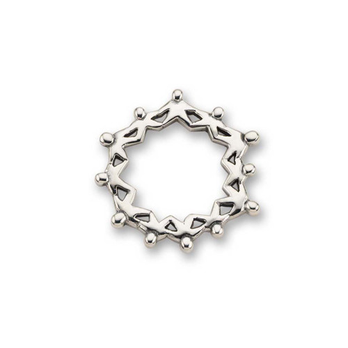 Sterling Silver Circle Shaped Hand in Hand Pin