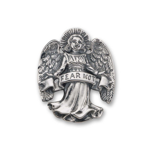 Sterling Silver Fear Not Angel Pin For Strength