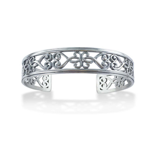 Sterling Silver Garden Gate Narrow Cuff Bracelet