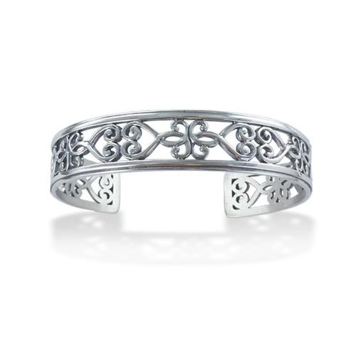 Sterling Silver Garden Gate Narrow Cuff Bracelet