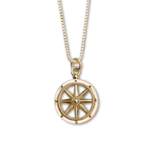 14k Stay the Course Compass Pendant