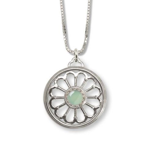 Sterling Silver Green Chalcedony Juliet Pendant