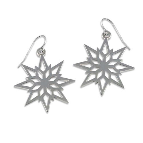 Sterling Silver 2018 Starlight Snowflake Earrings