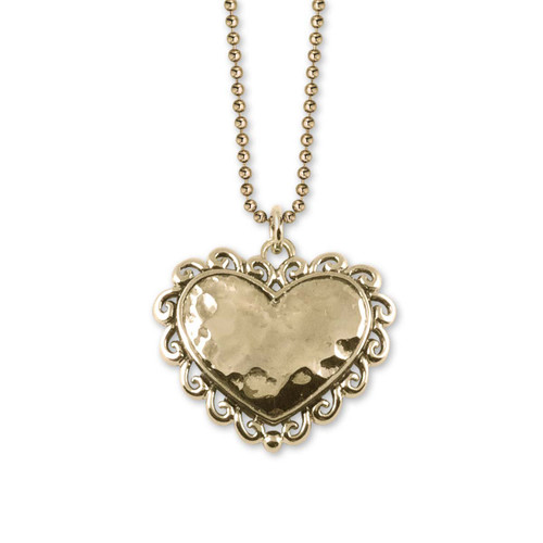 14kt Gold Hammered Scroll Heart Pendant