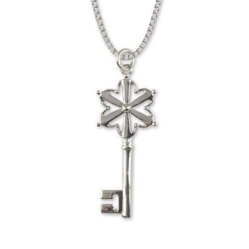 Sterling Silver Hand in Hand Key Pendant
