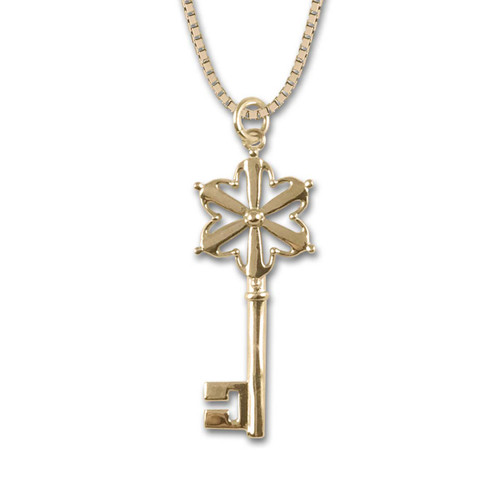 14k Gold Hand in Hand Key Pendant