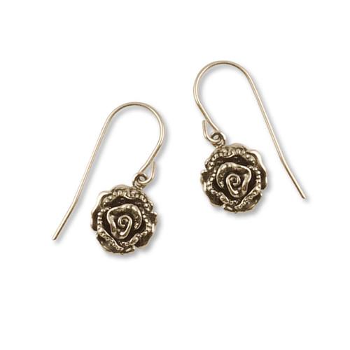 14k Gold Rose Earrings