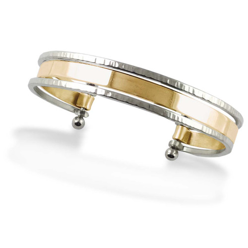 Sterling Silver & 14kt Gold Stacked Cuff Bracelet