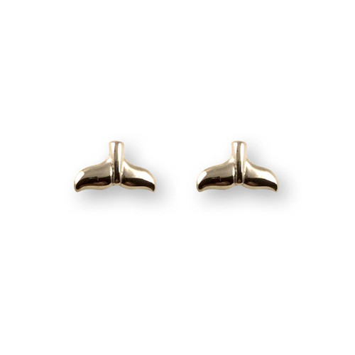 14kt Gold Whale Tail Post Earrings