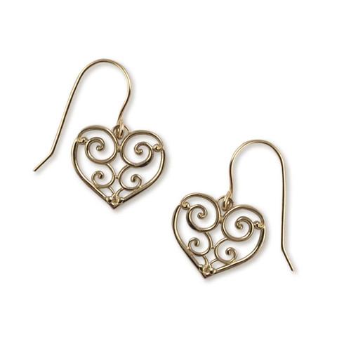 14kt Gold Garden Gate Heart Earrings