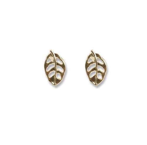 14kt Gold Leaf Post Earrings