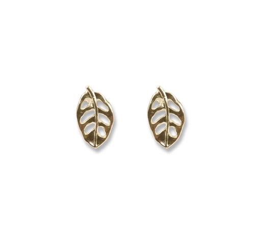 14k Gold Leaf Post Earrings