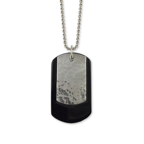 Sterling Silver & Stone Black Onyx Dog Tag Pendant