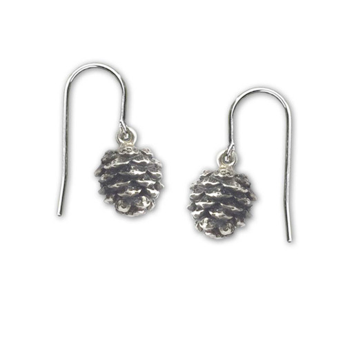 Sterling Silver Pinecone Dangle Earrings