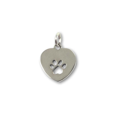 Sterling Silver Paw Print Heart Charm - Small
