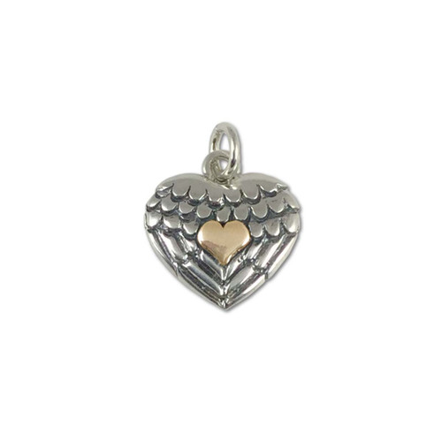 Sterling Silver & 14kt Gold Heart Takes Flight Charm