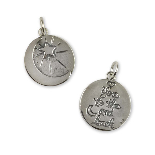 Sterling Silver Moon & Back Charm