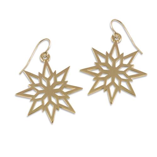 14kt Gold 2018 Starlight Snowflake Earrings
