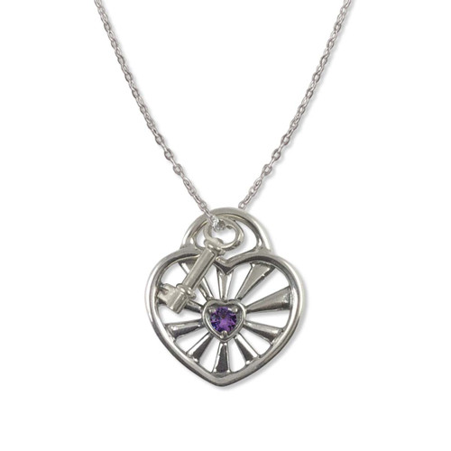 Sterling Silver Birthstone  Radiant Heart Pendant with Key