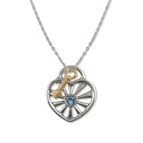 Sterling Silver  Birthstone Radiant Heart Pendant with 14k Gold Key